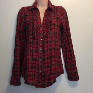 BKE Red Plaid Button down Shirt sleeves Adjustable